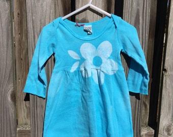 Baby Girl Gift, Blue Baby Dress, Baby Girls Dress, Baby Shower Gift, Long Sleeve Baby Dress, Cotton Baby Dress, Baby Blue Dress (6 months)