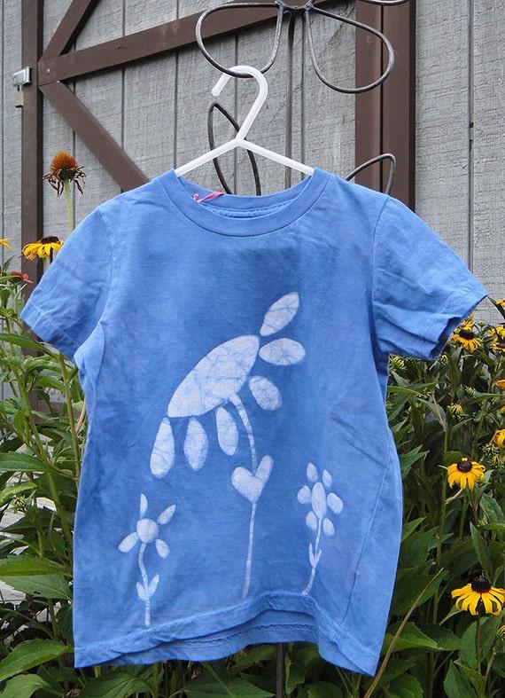 Girls Flower Shirt, Flower Girls Shirt, Blue Flower Shirt, Kids Flower Shirt, Batik Kids Shirt, Batik Girls Shirt, American Made Kids (5)