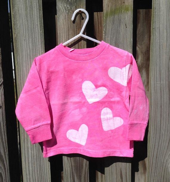 Pink Girls Shirt, Long Sleeve Girls Shirt, Pink Kids Shirt, Long Sleeve Kids Shirt, Pink Heart Shirt, Girls Birthday Gift (2T) SALE