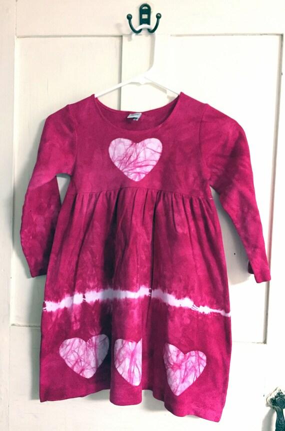 Valentine's Day Dress, Pink Heart Dress, Pink Girls Dress, Girls Valentine's Day Dress, Long Sleeve Girls Dress, Tie Dye Girls Dress (6)