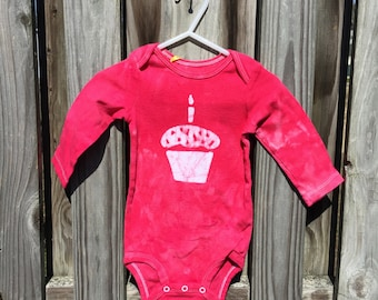 First Birthday Baby Bodysuit, Cupcake Baby Bodysuit, Girls First Birthday Bodysuit, Boys First Birthday Bodysuit, Red Cupcake (12 months)