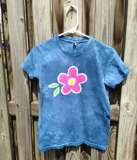 Batik Ladies Shirt, American Made Ladies Shirt, Blue Ladies Shirt, Flower Ladies Shirt, Batik Womens Shirt, Summer Ladies Shirt (M)