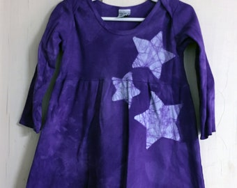 Girls Star Dress, Purple Girls Dress, Purple Star Dress, Celestial Girls Dress, Batik Girls Dress, Long Sleeve Dress , Star Girls Dress (2T)
