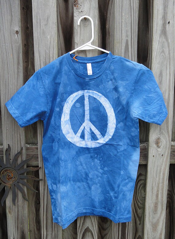Peace Sign Shirt, Blue Peace Sign Shirt, Batik Peace Sign Shirt, Mens Peace Sign Shirt, Womens Peace Sign Shirt, American Made Shirt (S)