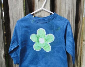 Flower Girls Shirt, Girls Flower Shirt, Green Flower Shirt, Blue Girls Flower Shirt, Kids Flower Shirt, Long Sleeve Girls Shirt (2T)