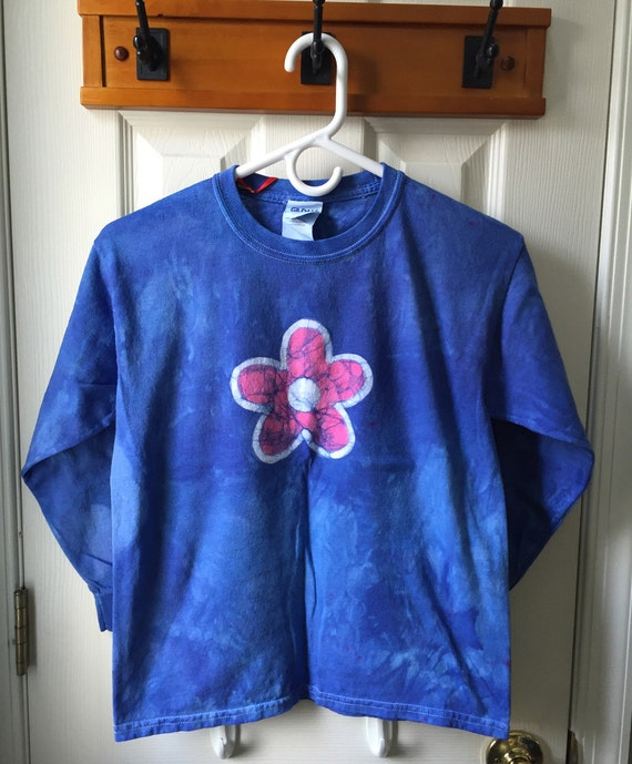Flower Girls Shirt, Blue Flower Shirt, Blue Girls Shirt, Blue Flower Girl, Flower Girl Gift, Kids Batik Shirt, Girls Batik Shirt (8)