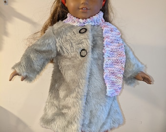 Faux Fur Coat and knitted Scarf for 18 inch dolls