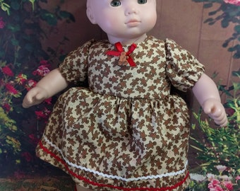Sweet Gingerbread Dress for 15 inch dolls