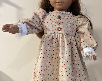 """A """"Stacked Button"""" holiday dress for 18 inch dolls such as American Girl, Gotz"""