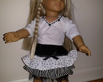 18 inch doll - beaded and ruffled party outfit