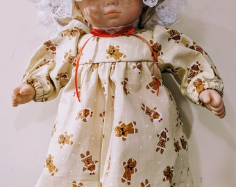 Gingerbread Print Nightie and Night Cap for 15 1/2 inch baby dolls