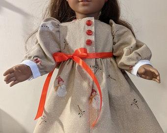 Pretty Snowman Dress fro 18 inch dolls such as American Girl or Gotz