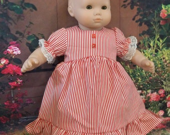 Striped Cotton Nightie for 15 inch baby dolls