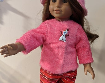 Fuzzy Pink Jacket and Hat with Olaf detail for 18 inch dolls