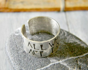 J Tolkien The Lord of the Rings inspired ring Oringo book lover jewelry Sterling silver handmade R R