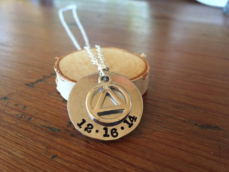 Custom recovery necklace  recovery symbol with date AA image 0