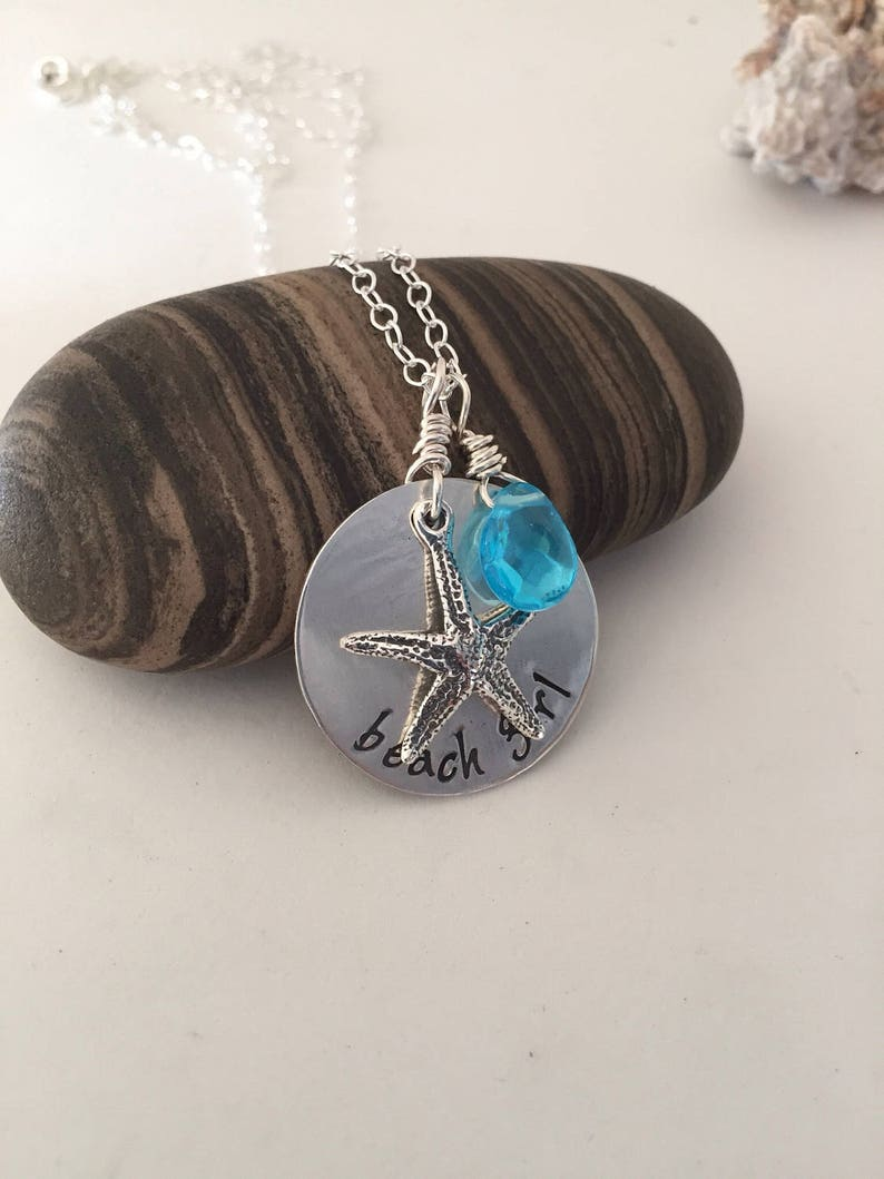 beach girl hand stampedpersonalized sterling necklace image 0