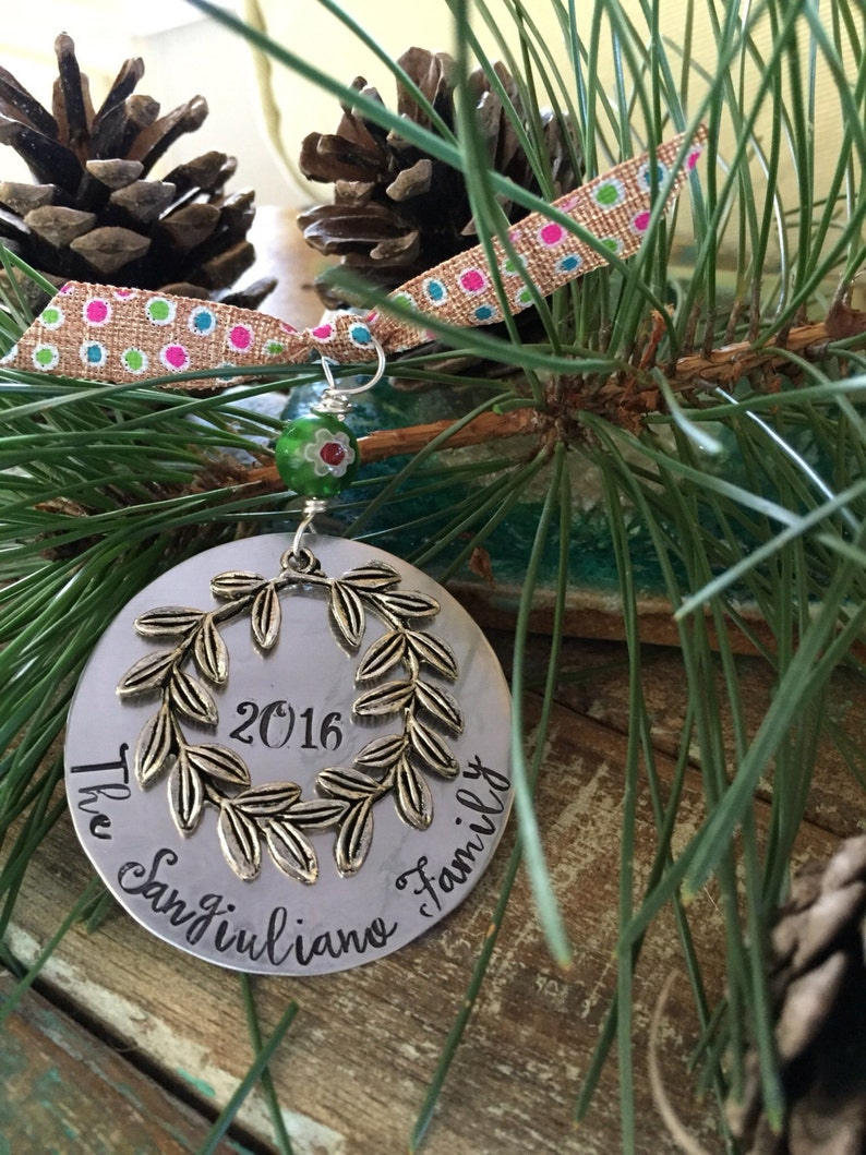 Christmas ornament personalized  hand stamped names date image 0