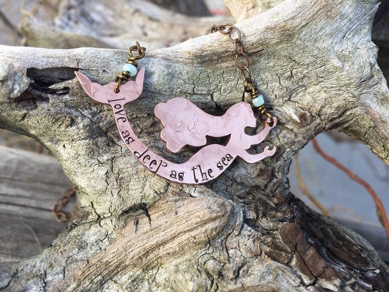 Mermaid necklace hand stamped mermaid necklace beach boho image 0
