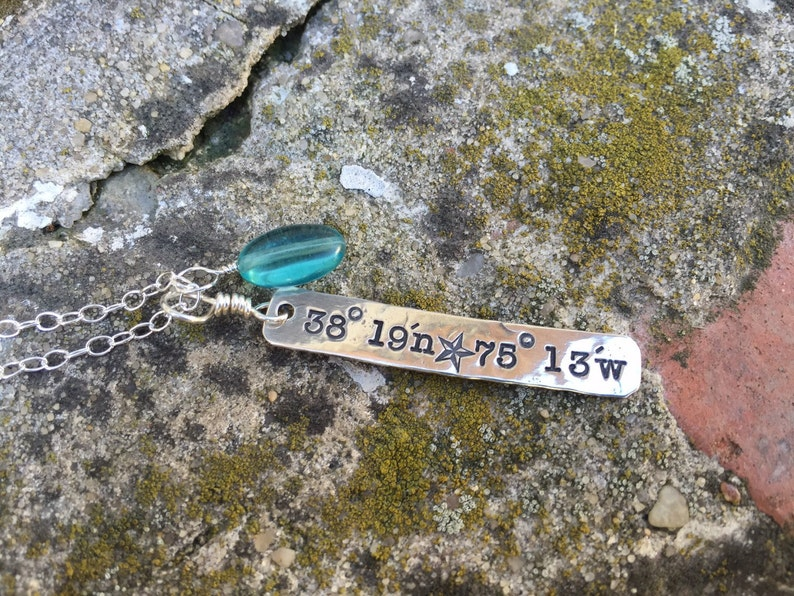 Latitude and longitude necklace  handstamped jewelry  image 0
