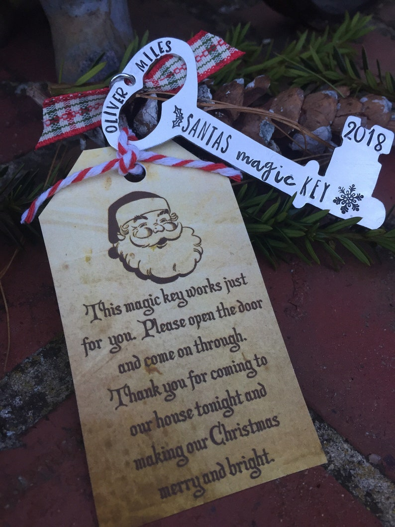 Santas magic key-personalized Christmas ornament-gift for image 0