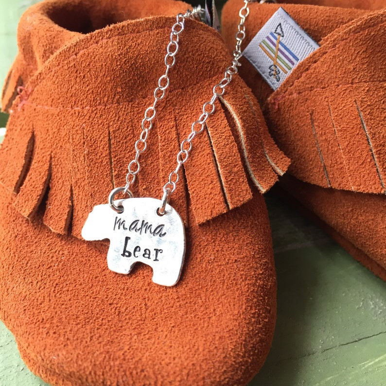 Hand stamped personalized mama bear necklace-custom jewelry image 0