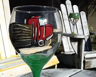 Logging truck wine glass