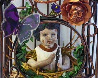 Altered Doll Assemblage - Creepy Doll Art - Bird Cage Assemblage - Assemblage Art Doll