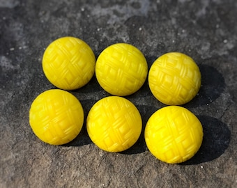 Yellow vintage 12mm glass buttons,  vintage buttons, set of 6