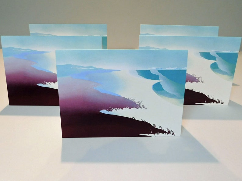 Set of 5 greeting cards Waves