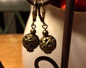 Antique gold beaded earrings