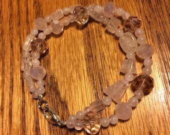Rose quartz and light pink glass double strand bracelet