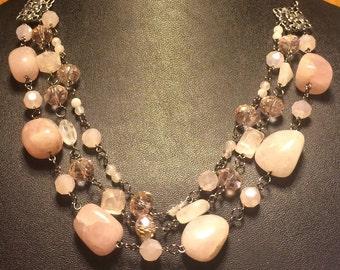 Rose Quartz and light pink glass necklace