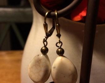 White magnesite beaded earrings