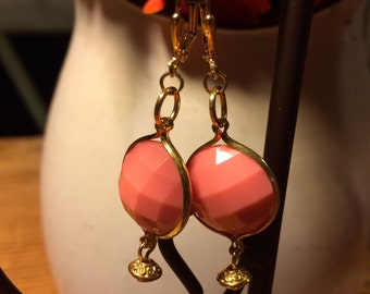 Peachy pink and gold faceted bead earrings...super lightweight!