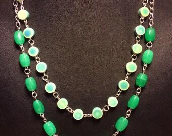 Green glass/porcelain bead drop earrings