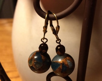 Brown and blue glass bead earrings
