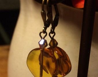 Brown/amber glass bead earrings