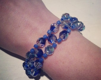 Beaded weave bracelet - royal blue and clear