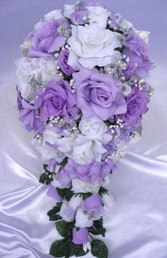 mariage bouquet mari e soie fleurs lavande argent blanc etsy. Black Bedroom Furniture Sets. Home Design Ideas