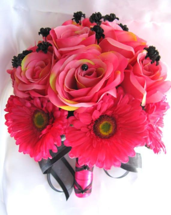 Wedding bouquet bridal silk flowers dark pink fuchsia black etsy image 0 mightylinksfo
