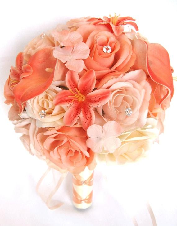 Wedding bouquets bridal silk flowers 17 piece package bridal etsy image 0 mightylinksfo