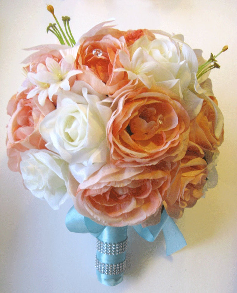 17pcs Wedding Bridal Bouquet Silk Flower Decoration Package CORAL PEACH ORANGE