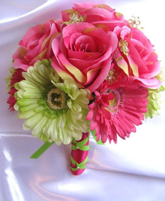 Dark Pink Wedding Flowers: Wedding Bouquets Bridal Silk Flower Dark PINK Fuchsia