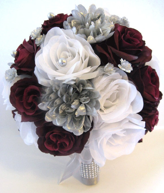 Wedding silk flowers bridal bouquet burgundy silver gray 17 etsy image 0 mightylinksfo