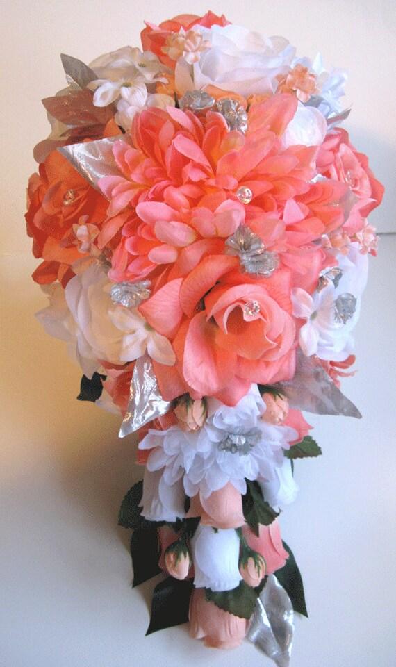 Wedding Bouquet Bridal Silk flowers Cascade CORAL PEACH GRAY   Etsy