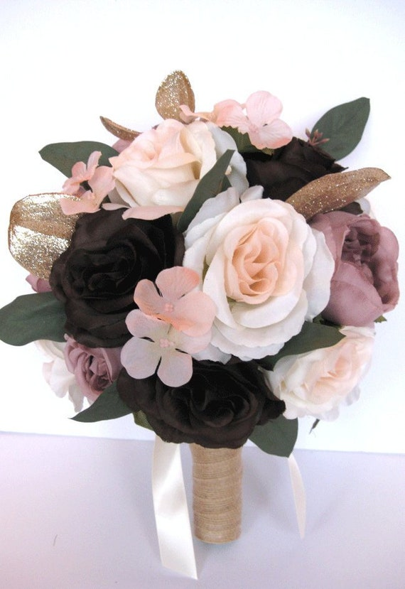 Wedding Bouquet 17 Piece Set Bridal Bouquets Wedding Silk Etsy