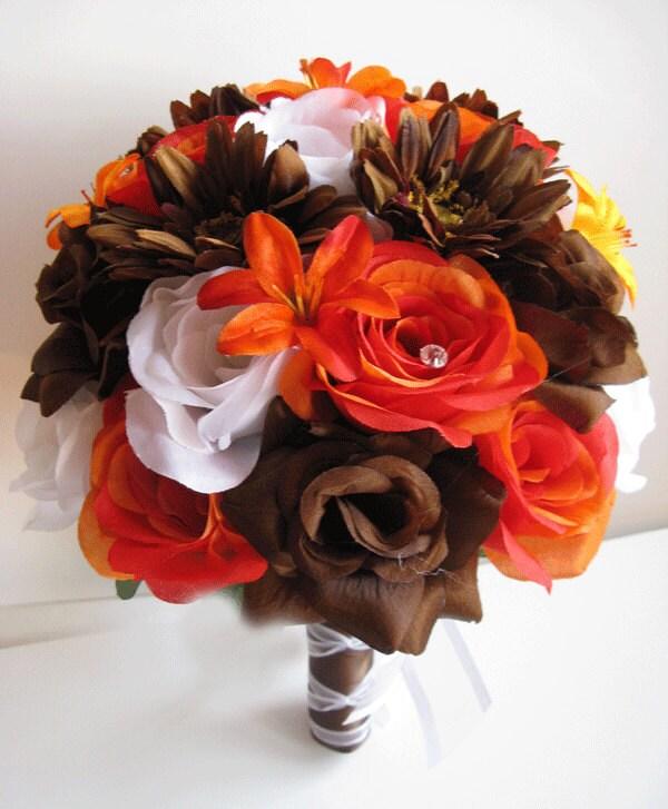 Brown Wedding Flowers: Wedding Bouquet Bridal Silk Flowers ORANGE BROWN DAISY