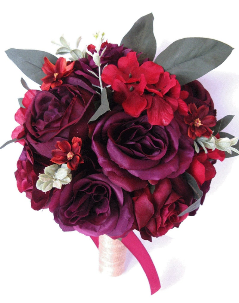 6bbaafd9ab2 Wedding Bouquet 17 piece package Bridal Bouquet set BURGUNDY