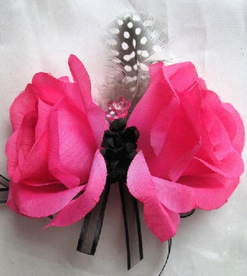 Wedding bouquet Bridal Silk flowers Hot Pink FUCHSIA BLACK Feathers 17 pc package decoration Centerpiece arrangements RosesandDreams